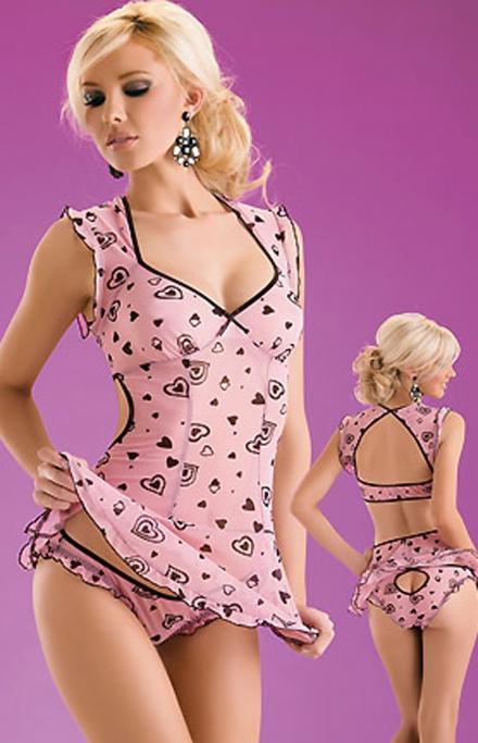 Розовая сорочка с сердечками