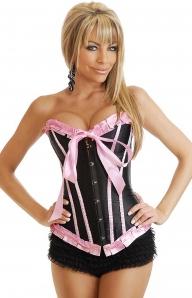 Черный с розовой отделкой корсет